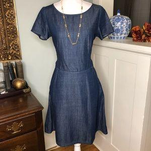 Banana Republic Denim Fit & Flare Dress w/ Pockets